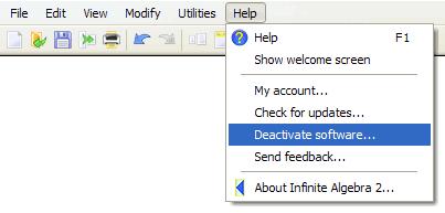 Software Deactivation Menu