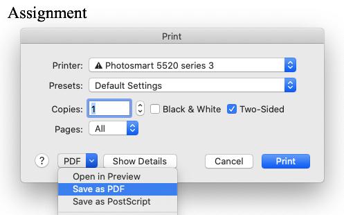 Mac Print to PDF Menu