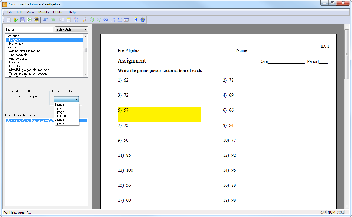 Printables Kuta Worksheets creating an assignment with kuta software choose the length
